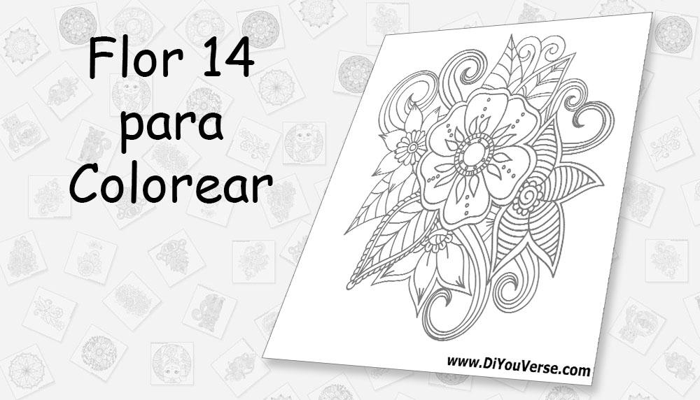 Flor 14 para Colorear