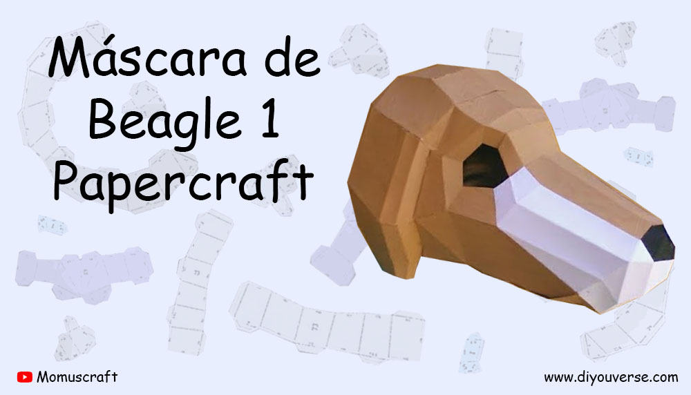 Máscara de Beagle 1 Papercraft