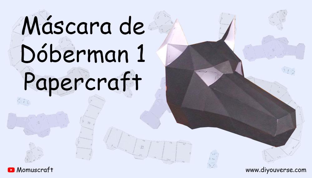 Máscara de Dóberman 1 Papercraft