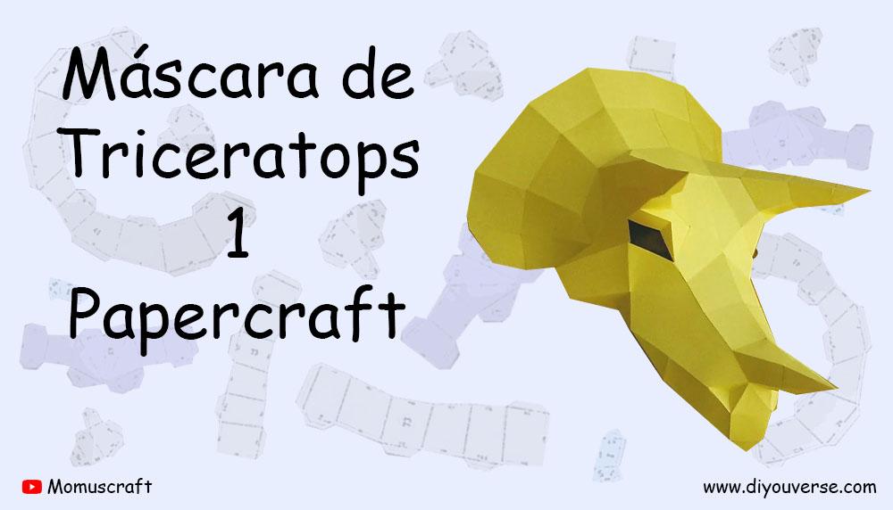 Máscara de Triceratops 1 Papercraft