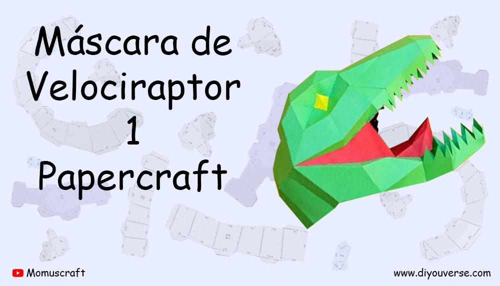 Máscara de Velociraptor 1 Papercraft