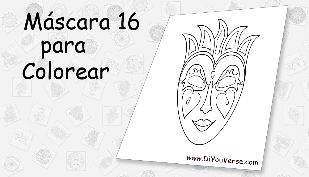 Máscara 16 Para Colorear
