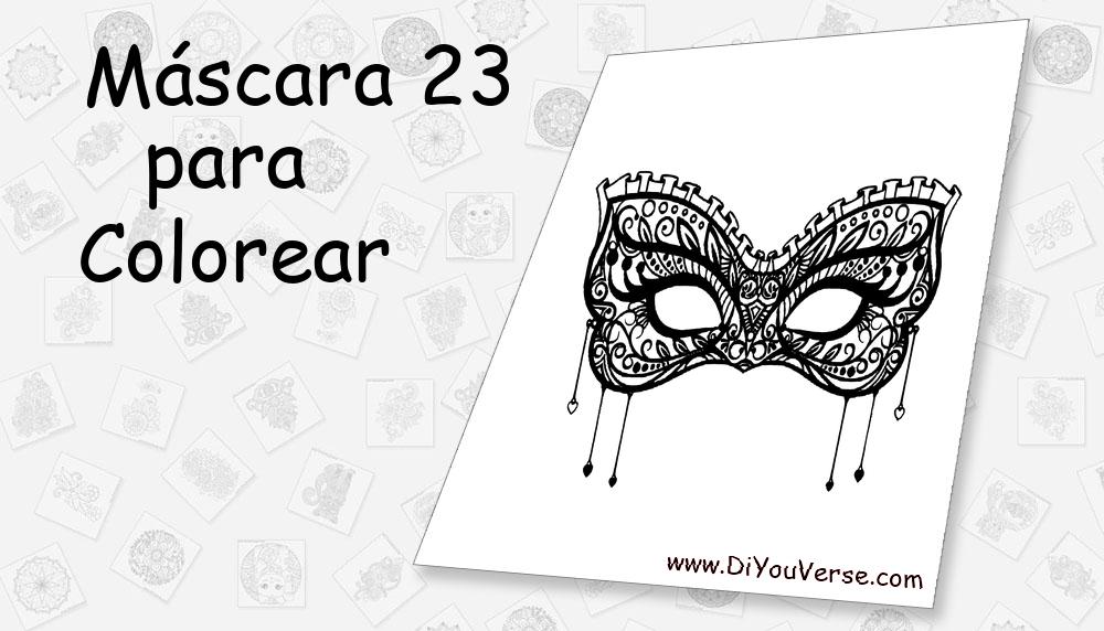 Máscara 23 Para Colorear