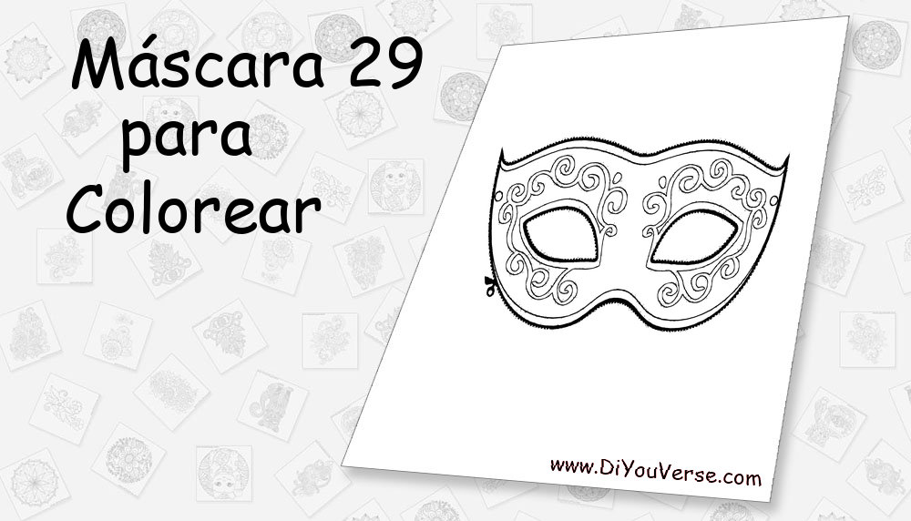 Máscara 29 Para Colorear