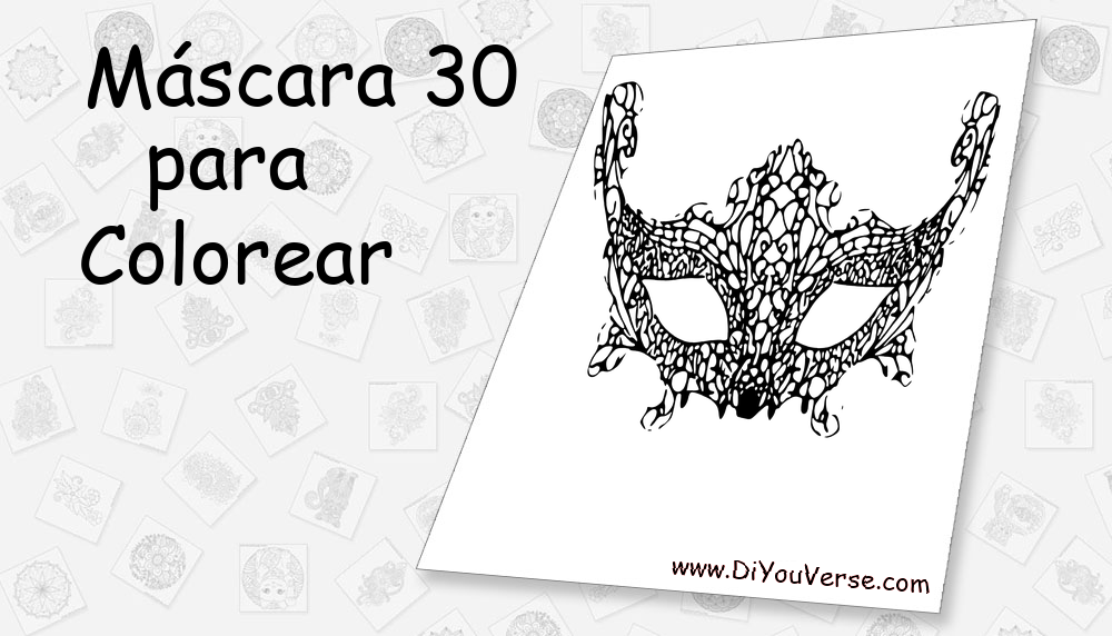 Máscara 30 Para Colorear