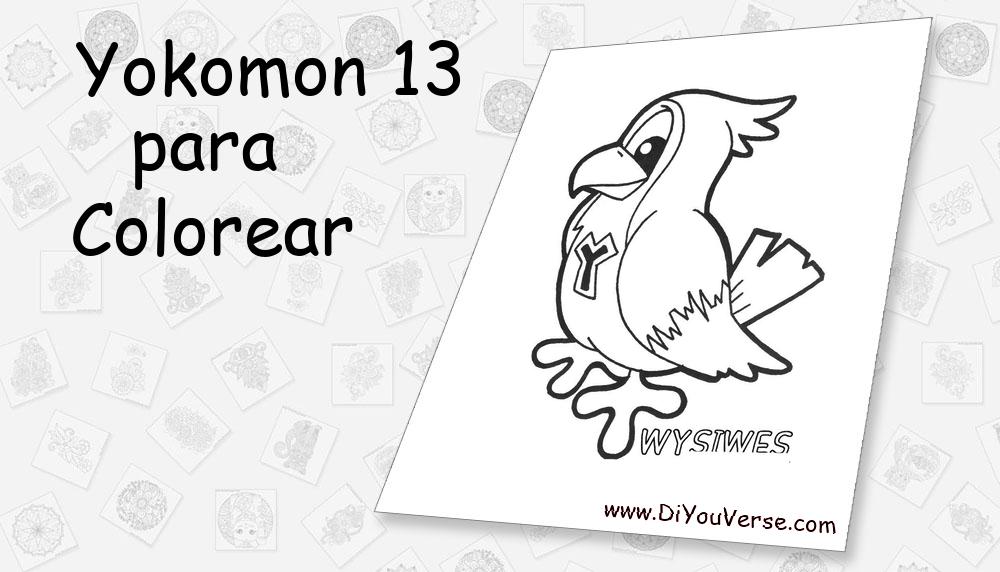 Yokomon 13 Para Colorear