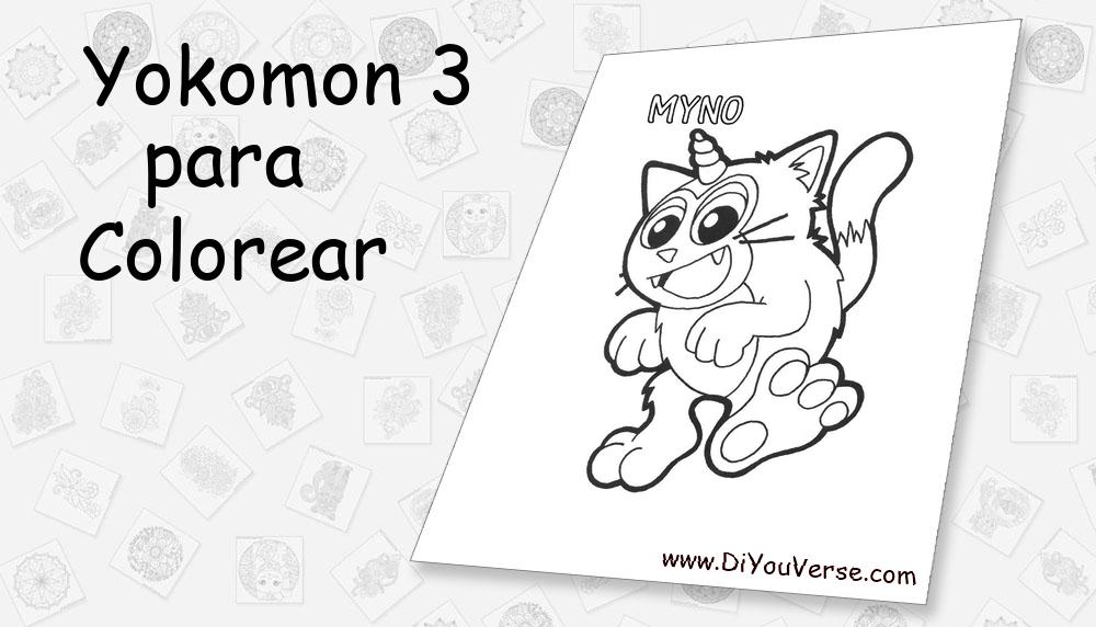 Yokomon 3 Para Colorear